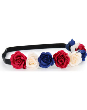 Shyanne Women's Dark Americana Flower Crown Headband , Red/white/blue, hi-res