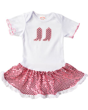 Kiddie Korral Infant Girls' Sequin Boots & Skirt Bodysuit Dress - 6M-24M, Pink, hi-res