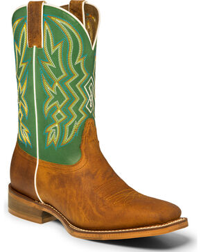 "Nocona Men's 11"" Green Multi-Color Stitch Cowboy Boots - Square Toe, Tan, hi-res"