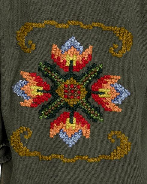 MM Vintage Women's Olive Embroidered Button Front Top , Olive, hi-res