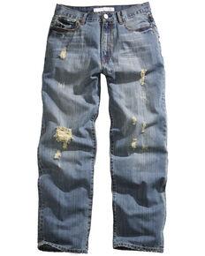 Tin Haul Men's Hoss Heavy Destruction Loose Fit Straight Leg Jeans, Denim, hi-res