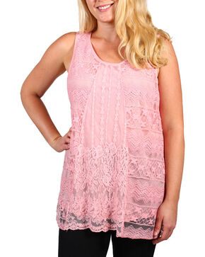Forgotten Grace Women's Lace Overlay Tank - Plus, Pink, hi-res