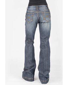 Stetson Women's Blue 214 Trouser Fit Arrow Embroidered Jeans, Blue, hi-res