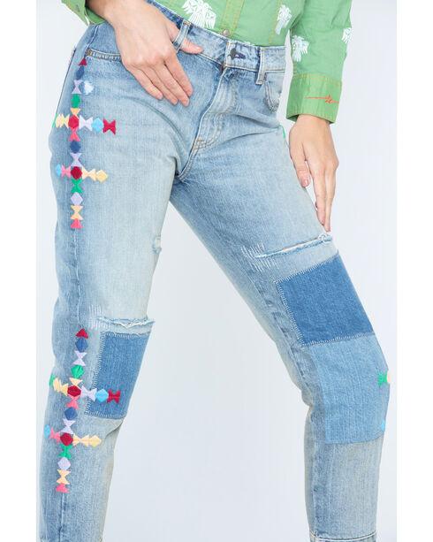 MM Vintage Women's Patchwork Fray Boyfriend Jeans - Straight Leg , Indigo, hi-res