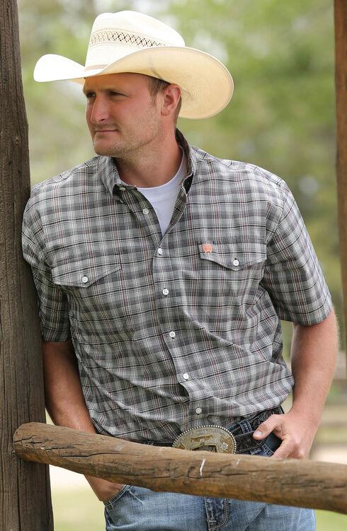 Cinch Men's Black Double Pockets Short Sleeve Shirt , , hi-res