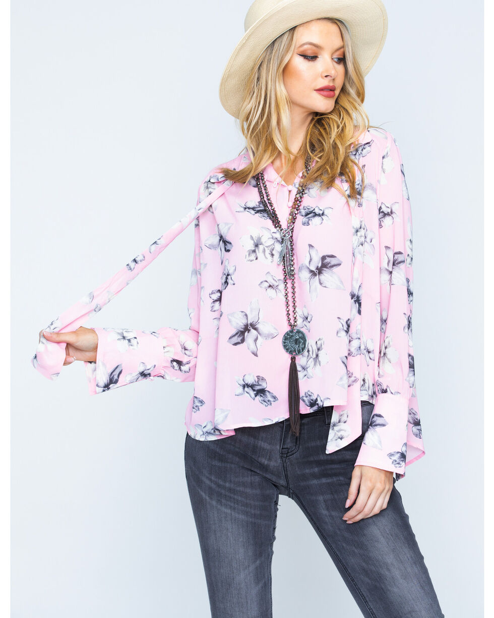 Polagram Women's Floral Print Tie Neck Top, Pink, hi-res