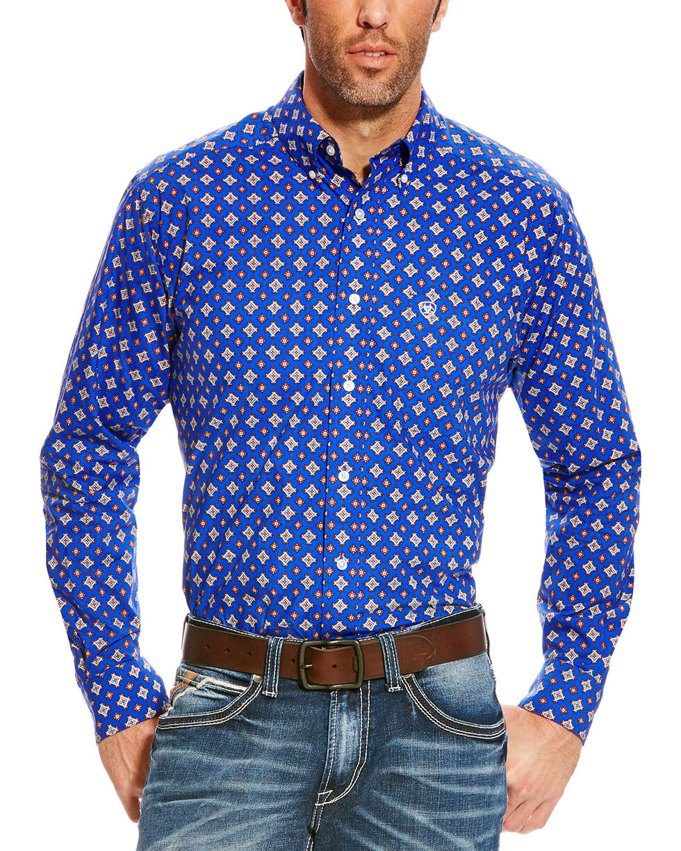 Ariat Men's Blue Diamond Print Benchley Western Shirt , Blue, hi-res