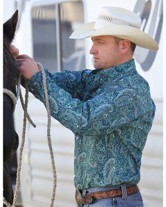 Cinch Men's Forest Green Paisley Western Shirt , Forest Green, hi-res