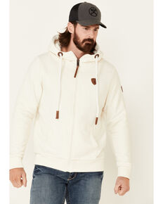 Wanakome Men's Solid Oatmeal Zeus French Terry Zip-Front Hooded Sweatshirt , Oatmeal, hi-res