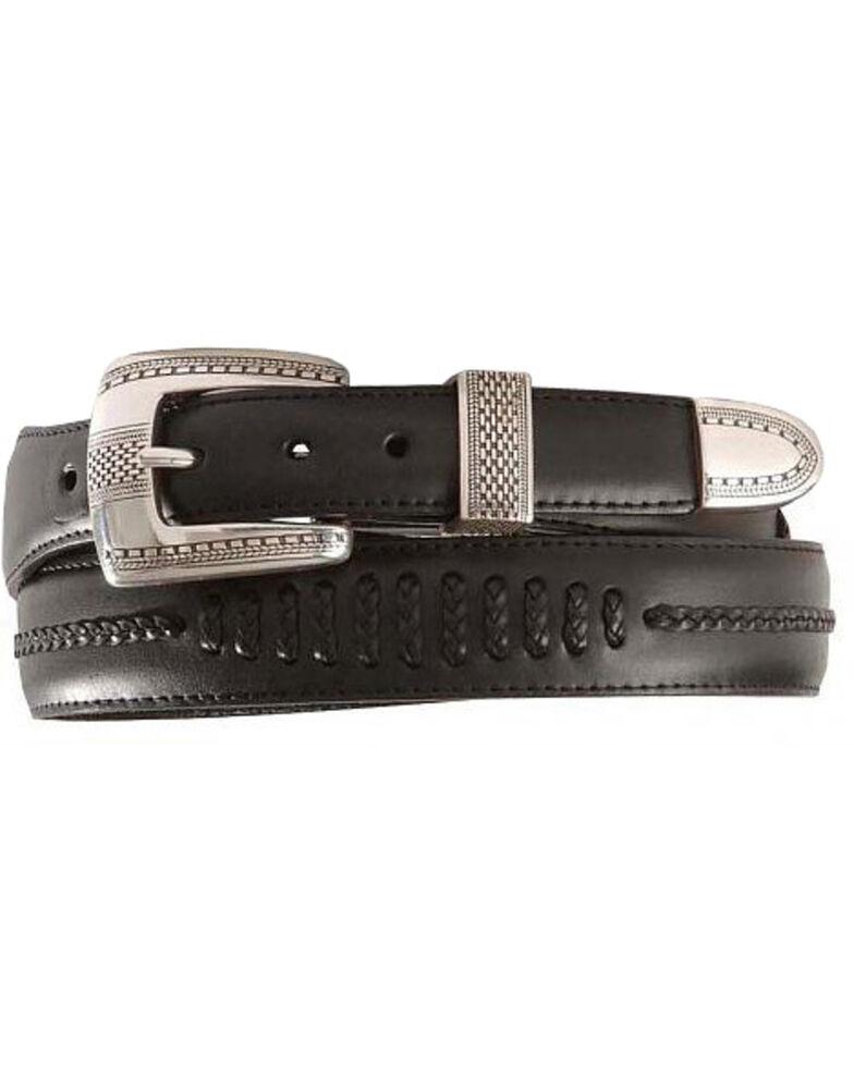 Brighton Onyx Tapered Leather Dress Belt, Black, hi-res