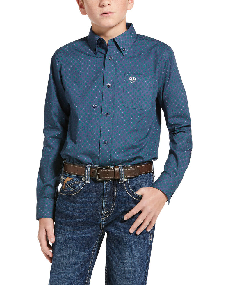 Ariat Boys' Jennersville Diamond Geo Print Long Sleeve Western Shirt , Blue, hi-res