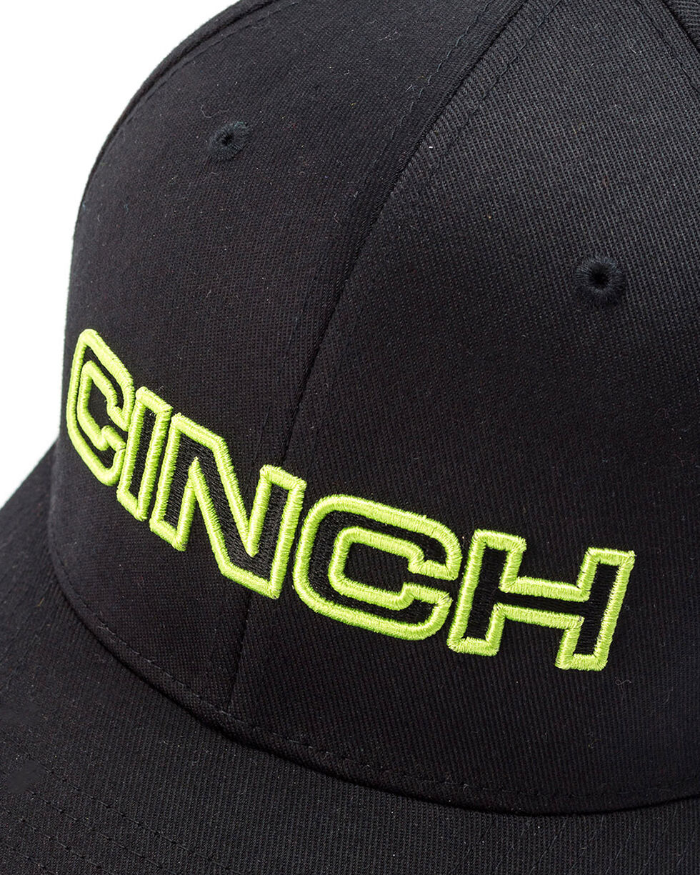 Cinch Men's Black 3D Logo Flexfit Cap, Black, hi-res