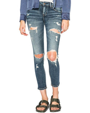 Silver Women's Kenni Medium Wash Slim Boyfriend Jeans, Indigo, hi-res