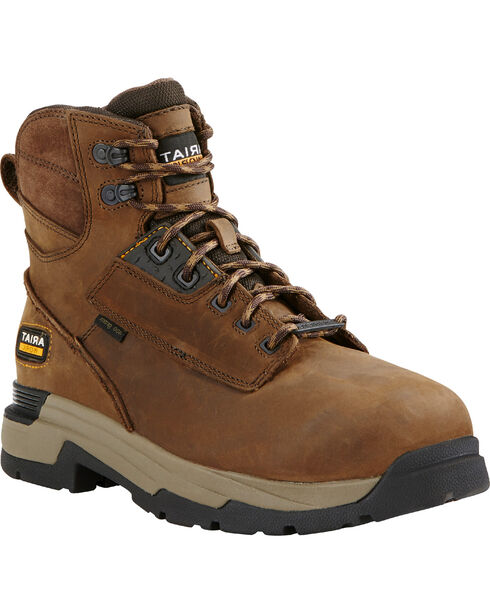 "Ariat Mastergrip Waterproof Insulated 6"" Lace-Up Work Boots - Composite Toe , Brown, hi-res"