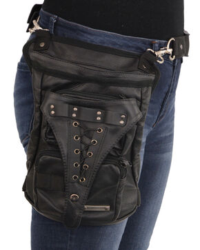 Milwaukee Leather Conceal & Carry Waist Belt Thigh Bag, Black, hi-res