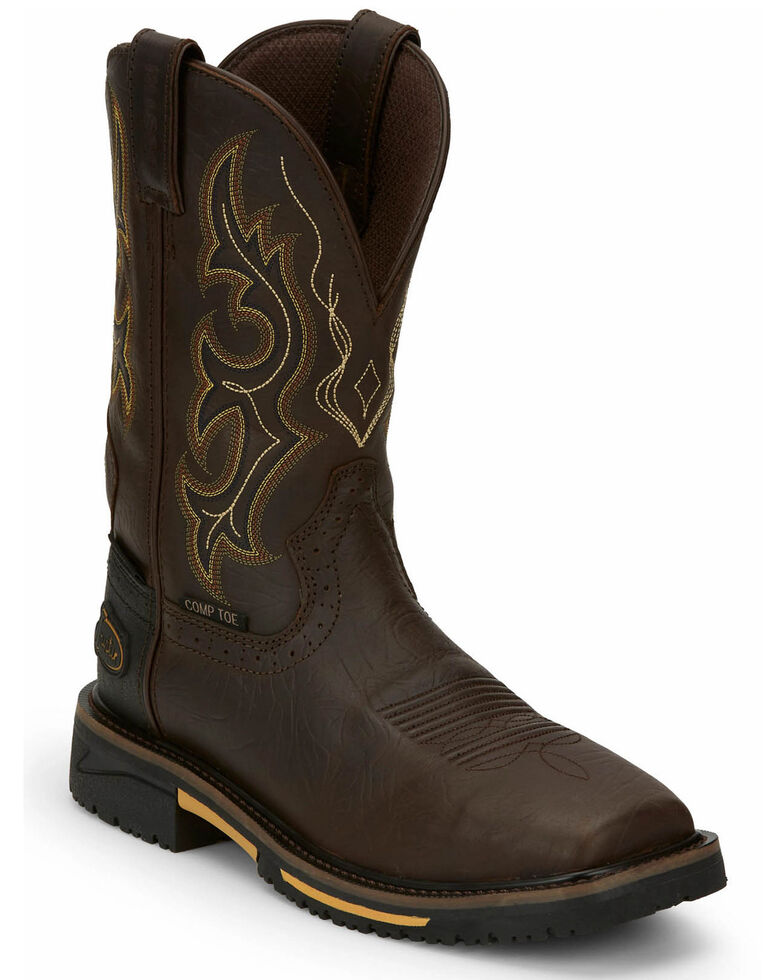 Justin Men's Joist Rustic Waterproof Western Work Boots - Composite Toe, Distressed Brown, hi-res