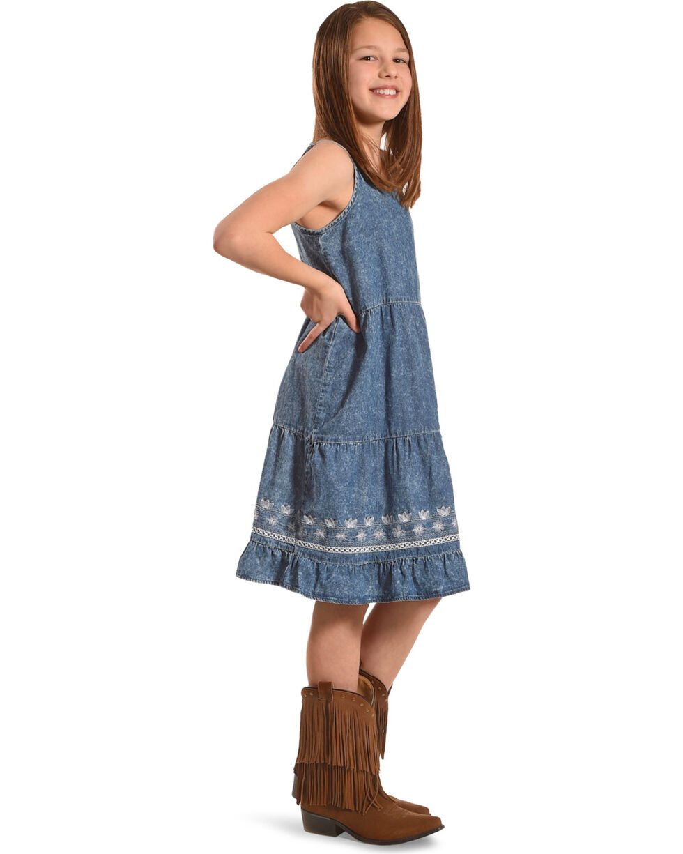 Silver Girls' Sleeveless Tiered Denim Dress, Blue, hi-res
