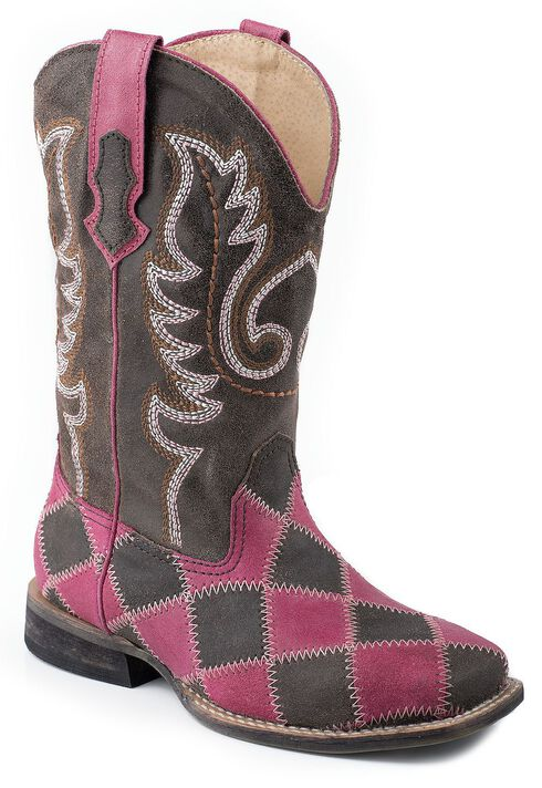 Roper Girls' Pink & Brown Patchwork Cowgirl Boots, , hi-res
