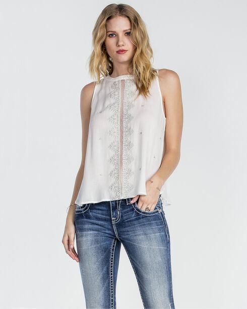 Miss Me Women's White Sleeveless Embroidered Top , White, hi-res