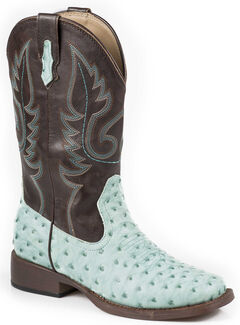Roper Youth Boys' Ostrich Print Cowboy Boots - Square Toe, Turquoise, hi-res