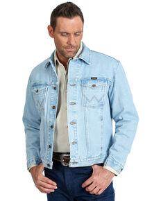 Wrangler Men's Unlined Gold Buckle Bleached Denim Jacket , Indigo, hi-res