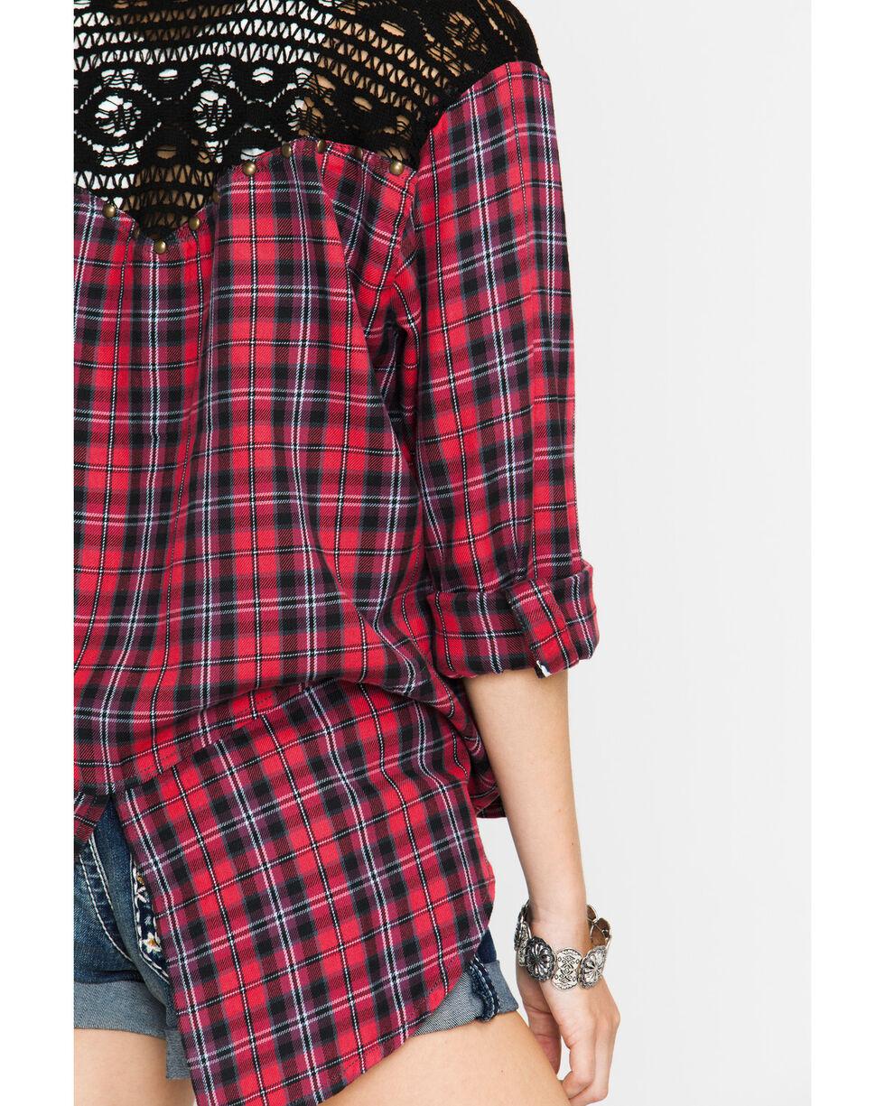 Shyanne Women's Crochet Plaid Shirt, Red, hi-res