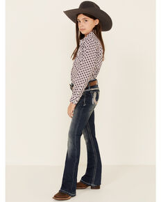 Grace In LA Girls' Horseshoe Embellished Pocket Bootcut Jeans, Blue, hi-res