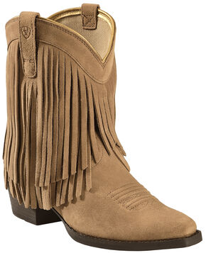 Ariat Girls' Gold Rush Rustic Brown Fringe Cowgirl Boots - Snip Toe, Bark, hi-res
