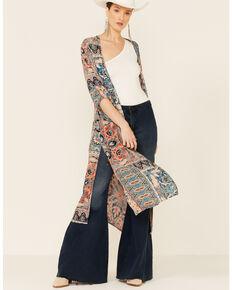 Angie Women's Blue & Rust Floral Print Duster Kimono  , Blue, hi-res