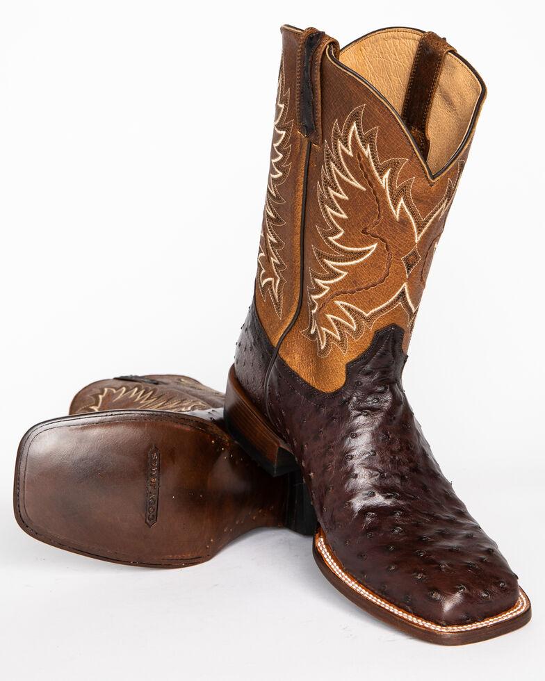Cody James Men's Ostrich Tobacco Exotic Boots - Wide Square Toe , Tobacco, hi-res