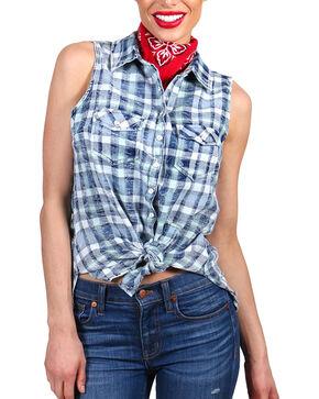 Shyanne Women's Distressed Plaid Sleeveless Western Shirt, Blue, hi-res