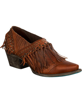 Lane Women's Brown Fringe Fries Shoes - Snip Toe , Chili, hi-res