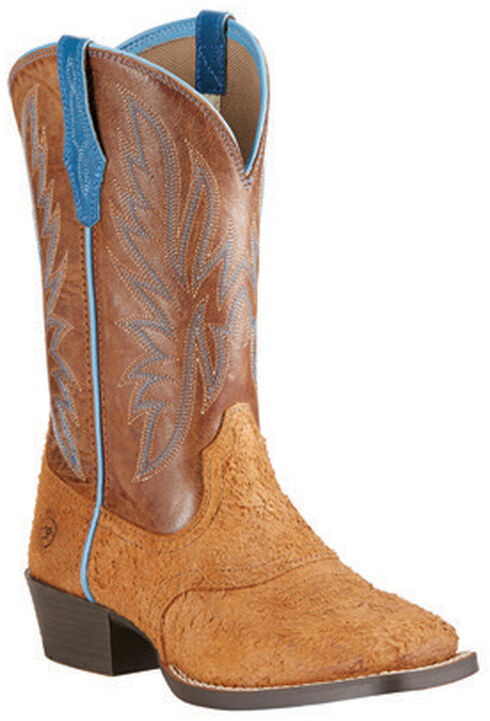 Ariat Youth Boys' Outrider Cowboy Boots - Square Toe, Oak, hi-res