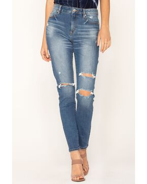 Miss Me Women's Fashion Destructed Studded Ankle Slit Skinny Jeans, Blue, hi-res
