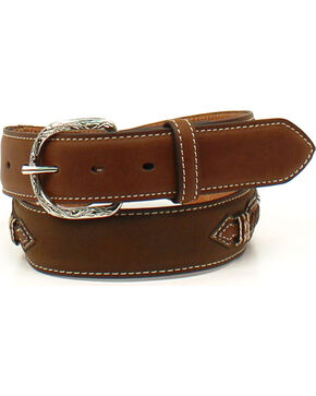 Nocona Men's Laced Ribbon Overlay Belt , Medium Brown, hi-res