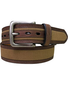 Berne Men's Canvas Leather Lined Belt , Beige/khaki, hi-res