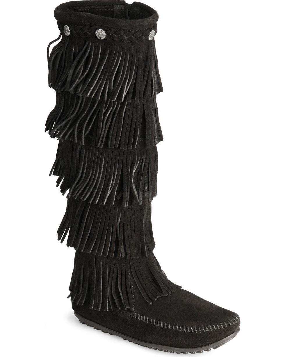 Minnetonka Fringed Suede Leather Boots, Black, hi-res