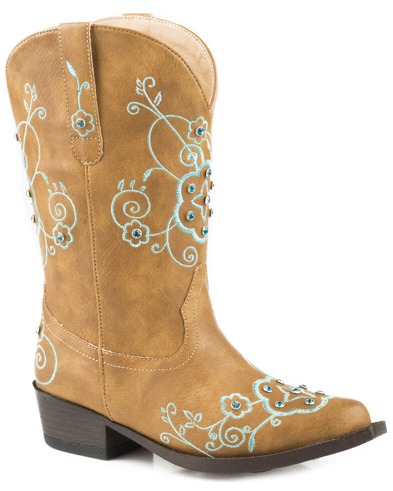 discount coupon huge sale so cheap Roper Girls' Flower Sparkles Cowgirl Boots - Snip Toe