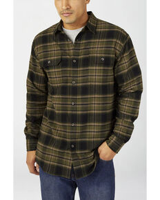 Dickies Men's Military Green Plaid Relaxed Flex Flannel Work Shirt - Big , Green, hi-res
