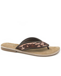 Roper Women's Hand Tooled Sandals, Brown, hi-res