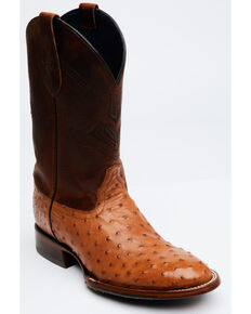 Cody James Men's Cognac Exotic Full-Quill Ostrich Western Boots - Round Toe, Cognac, hi-res