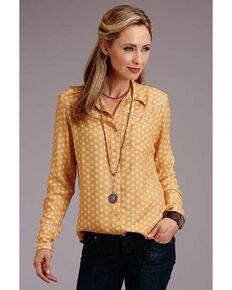 Stetson Women's Yellow Print Long Sleeve Snap Western Shirt , Yellow, hi-res
