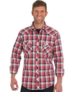 Wrangler Men's Retro Red Long Sleeve Plaid Shirt , Red, hi-res