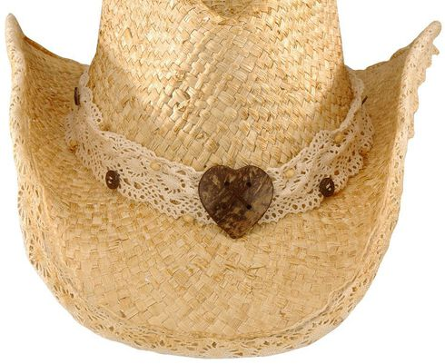 Heart Straw Cowgirl Hat, Natural, hi-res