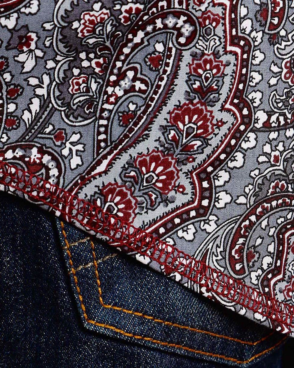 Stetson Men's Grey Paisley Print Long Sleeve Shirt , Grey, hi-res