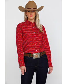 c5b63c0a George Strait By Wrangler Womens Red Star Print Long Sleeve Western Shirt ,  Red, hi