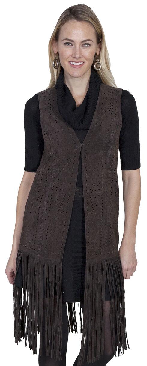 Scully Long Suede Fringe Vest, Chocolate, hi-res