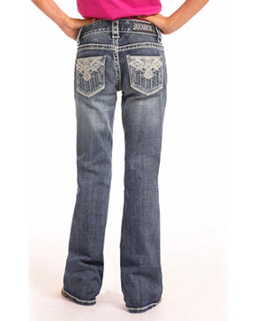 Rock & Roll Cowgirl Girls' Aztec Embroidered Medium Wash Jeans (4-16) - Boot Cut, Indigo, hi-res