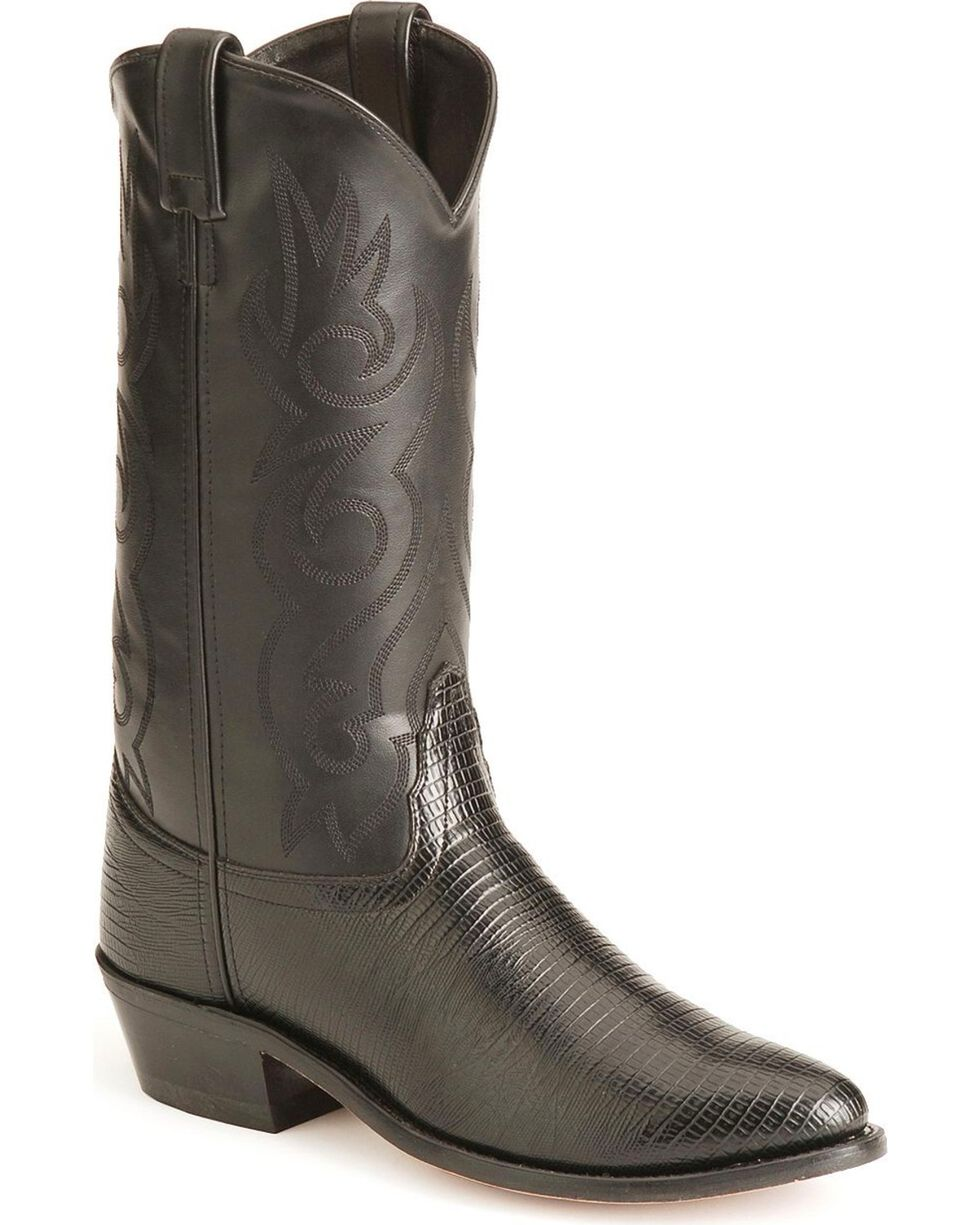 Old West Lizard Printed Cowboy Boots, Black, hi-res