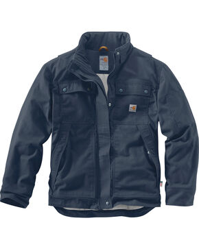 Carhartt Men's Flame-Resistant Full Swing Quick Duck Coat , Navy, hi-res